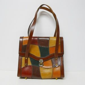 VTG 60s - 70s patchwork framed handbag